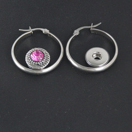 Wholesale Diy Earring Hoops - Women Fashion Snap Stainless Steel Earring Interchangeable 12mm Diy Snap Jewelry Fit Ginger Snaps Charms Button