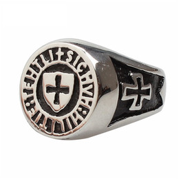 Wholesale Mens Titanium Cross Rings - hot sale jewelry European anti rust 316l stainless steel fashion Retro vintage designer cross religious mens rings
