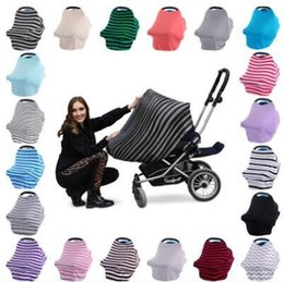 Wholesale Baby Car Covers - 22 Colors Baby Stroller Cover Infant Car Seat Covers Ins High Chair Canopy Shoping Cart Cover Nursing Breastfeeding Covers CCA6788 10pcs