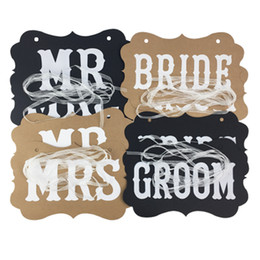 Wholesale wedding sign supplies - DIY MR MRS And Bride Groom Paper Board + Ribbon Sign Photo Booth Props Wedding Decoration Party Favor Letter Garland Banner Party Supplies