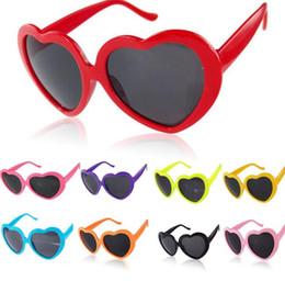 Wholesale Heart Glasses Frames - Heart glasses sunglasses heart-shaped sunglasses e Cute Heart Shape Plastic Frame Outdoor Sunglasses 10 color KKA3285