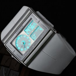 Relojes de alarma analógicos online-OHSEN Marca Fashion Square Electronic LED reloj Analog-Digital Mens Alarm Sport reloj de pulsera de cuarzo al por mayor W026