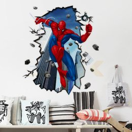 Wholesale Giant Wall Mural Stickers - AY8003 New & Hot Free Shipping Giant Superman Spiderman 3D Wall Sticker For Kids Rooms Wall Adhesive Home Decor Wall Decals