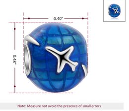 Wholesale Earth Globe Necklace - Fits Pandora Bracelets 30pcs Earth Globe Flight Silver Enamel Charm Bead Loose Beads For Wholesale Diy European Sterling Necklace Jewelry