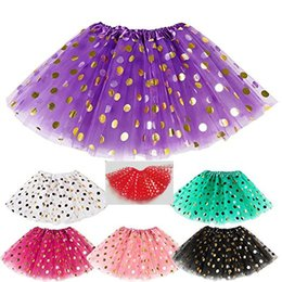 Wholesale Toddler Girls Polka Dot Dress - DHL Baby Girls Gold Polka Dot Tutu Skirt Baby Clothes Tutus Dress Kids Skirts Toddler Skirts Red Infant Pettiskirt Newborn Photography Props