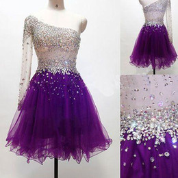 Wholesale Single Sleeve Prom Dresses - Single Long Sleeves Tulle Short Prom Dress 2018 Beaded Crystal Short Prom Gowns Elegant Party Gown