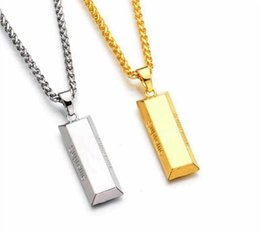 Wholesale Engraved Necklace Men - Fashion Gold brick Pendant Necklace Engraved Hip Hop For Supreme Gold Chain Men Women Jewelry Street style Wholesale
