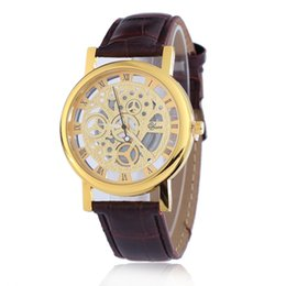 Wholesale Mechanical Hollow Sided - Korean Version of The Men and Women Double - Sided Hollow Imitation Mechanical Watch Students Leisure Imitation Leather with Quartz Watch