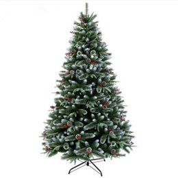 Wholesale Green Pines - 1.2 m  1.5 m  2.1 m encryption Christmas tree pine needles pine cones sticky white PE YE Fruit Garden Mall Christmas Decoration