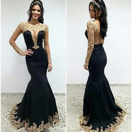 Black Mermaid Style Prom Dresses 2017 Long Sleeve Gold Lace Applique Open  Back Latest Gown Designs Formal Dresses Evening Wear Party Gowns b2df8c669754