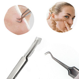 Wholesale Acne Remover Needle - Stainless Steel Tweezers Curved Tweezer Elbow Acne Clip Blackhead Acne Remover Eye Lashes Styling Tools Skin Care Beauty Acne needles