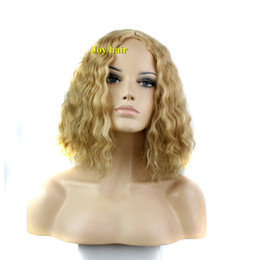 Wholesale Long Sexy Hair Wigs - Free Shipping New short blonde color Hot Sale Fashion Sexy Girl medium long curly Wig Cosplay Party synthetic hair Wig