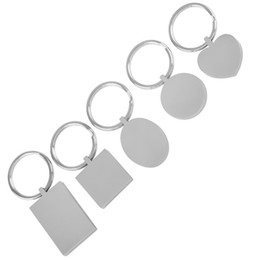 Wholesale Stainless Steel Rings Blanks - IJK0040 Five Pieces Stainless Steel Key Chain Blank Engravable Key Ring