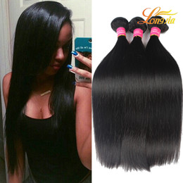 Wholesale Wholesale Black Natural Hair Products - Longjia Hair Products Brazilian Straight Hair Weave Bundles Natural Black Color 100% Human Hair Extension 3 4 5 Pieces Lot Free Shipping