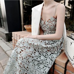 Wholesale Wholesale Runway Clothing - Sexy Embroidery Lace floral suspender long dress hollow Crochet Women dew shoulder long dress 2017 lady summer clothing T3738