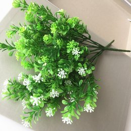 Wholesale Artificial Grass Bouquet - 7 branch bouquet Green plant fake milan artificial grass with leaf Setting wall decoration flower accessories free shipping
