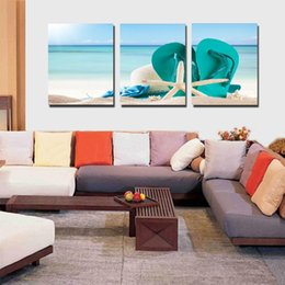 Wholesale Oil Painting Colours - 3pcs set Beach Chair Unframed Wall Art Oil Painting On Canvas Bright in Colour Textured Abstract Paintings Picture Decor Living Room