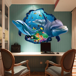 Wholesale Marine Room - Cartoon Dolphins Wall Stickers Home Decor 3D Marine Underwater World Fashion Personality Creative DIY Wall Paper Wallpaper