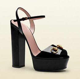 Wholesale Chunky Open Toe Platform - 2017 New Luxury Horsebit Designer Pumps Woman patent Leather Platform Sandals Chunky High Heels Gladiator peep toe Sandals Zapatos Mujer
