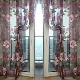 Großhandels Stilvolle Blumen Tulle Voile Schiere Vorhang Cortinas Panel Für  Wohnzimmer Wand Tür Fenster Home Decor Vorhänge Volant 1m X 2m  Dekorvorhänge ...