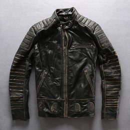 Wholesale Race Leather Jacket - vintage black AVIREXFLY Men cow leather jacket retro stripe slim fit motorcycle leather jackets Racing jacket sale