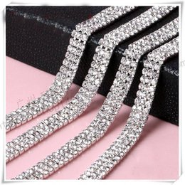 crystal ribbon cake Coupons - Wholesale-Wedding Decoration 10 yard 3Rows Rhinestone Crystal Chain Cake Ribbon SS12 Party Deco Sparkle Cup Chain Trim Sewing Accessories