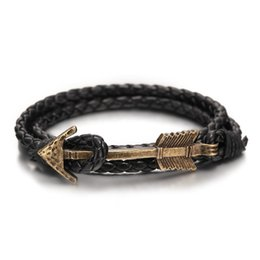 Wholesale Multilayer Bracelet Anchor - Wholesale- 2016 New Arrival Multilayer charm leather Vintage Bronze Arrow bracelet anchor bracelet for men women lovers' gift