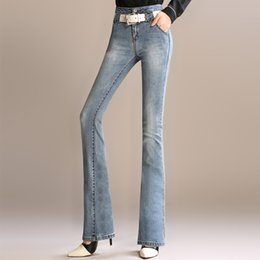 Wholesale Tight Sexy Jeans Woman - Wholesale- 2016 New Fashion Women Sexy High Waist Jeans All-match Wide leg Denim Trousers Tight Plus Size Ladies'Jeans