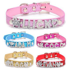 Wholesale Small Fit - Wholesale 20PCS lot PU Leather Personalized Sparkly Pet Collar For Dog or Cats With 10MM Slide Bar Fit For 10mm slide letters