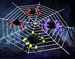 Wholesale Soft Toys Spider - Wholesale-30CM Soft Plush Fluffy Imitate Spider Funny tricky brains Toy Scary Red Eyes for Halloween Decoration Party Stage Props