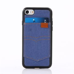 Wholesale Case Jean Iphone - Denim Cowboy Back Case For iPhone 7 6 Plus With ID Card Slot Flip Covers Cell Phone With Jean Cloth TPU Cases For Iphone 5 Cool Style