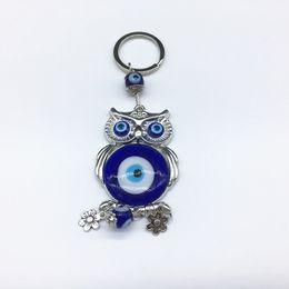Wholesale Evil Eye Key Ring - Free Shipping 1pc High Quality Silver Color Turkish Blue Evil Eye Zinc Alloy Owl Lucky Charm Protection Rhinestone Key rings