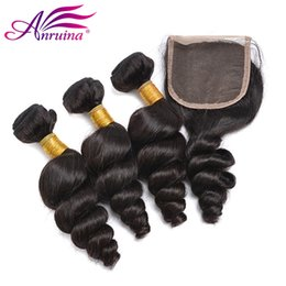 Wholesale cheap real human hair weave - Cheap Unprocessed Peruvian Loose Wave Hair Extension 3 Bundles With Lace Closure Original Peruvian Remy Human Hair Weave Real Peruvian Hair