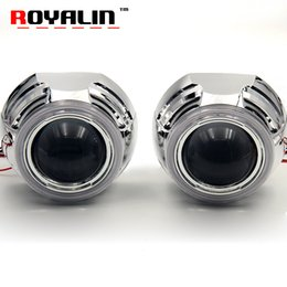 Wholesale xenon projector lens light - 3.0 Metal Bi Xenon HID Projector Headlights Lenses with COB Angel Eye LEDs DRL Daytime Running Lights for H1 Lamp H4 H7 Car