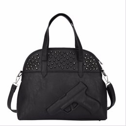 Wholesale Rivets Gun - Wholesale-Black 3D Print gun Rivet ladies leather bag BOLSOS pu leather bags women handbag clutch gun shoulder bag Messenger Bags