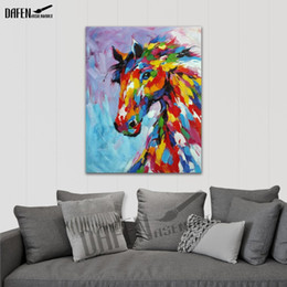 painting horses modern art Coupons - Happy Horse 100% Handpainted Animal Oil Paintings Funny Cartoon Picture Paint on Canvas Modern Wall Art Home Decoration