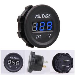 Wholesale 12v Car Voltmeter - New Waterproof Car Motorcycle Blue LED Digital Display Voltmeter Volt 12V 24V M00159