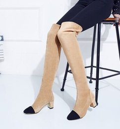 Wholesale Super Tall Heels - Wholesale New Arrival Hot Sale Specials Super Fashion Influx Warm Suede Sweet Girl Mix Color Slim Tall Canister Heels Knee Boots EU34-43