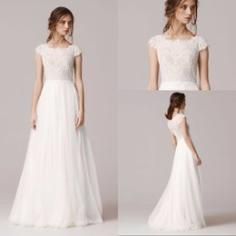 Wholesale Square Neckline - Elegant 2017 A Line Lace Wedding Dress Floor Length Chiffon Tulle vestido de novia Square Neckline Cap Sleeve Robe De Mariage