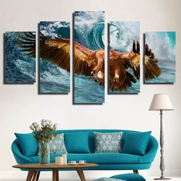Wholesale Mediterranean Animals - Modern Animal Mediterranean eagle Painting Canvas Art Wall Picture For Bed Room No Frame Gift ink Picture