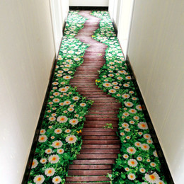 Wholesale rose floral print fabric - fashion brand new 3 D Avenue  passageway hallway carpet custom rose grass printed home hotel carpeting decorations non-slip