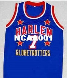 "Wholesale 4xl Tall - Retro ""TOO TALL"" HALL HARLEM GLOBETROTTERS College JERSEY BLUE NEW SEWN ANY SIZE Mens embroidered College JERSEY"