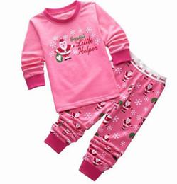 Wholesale Kids Boy Pjs - Baby Boys Girls Christmas Pajamas Kids Long Sleeve Tshirt + Pant Xmas PJS Cotton Pajamas Children Striped Night Wear P12