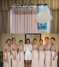 Wholesale Cheap Gold Sparkly Long Dresses - Sparkly Sequins Rose Gold Deep V Neck Bridesmaid Dresses Sleeveless Sheath Chiffon Long Maid Of Honor Gowns Cheap Wedding Party Gowns