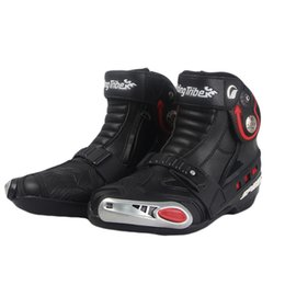 Wholesale Leather Riding Boots Men - 2016 New Leather Motorcycle short Boots Riding Tribe SPEED Moto Racing Motocross Motorbike boots Black White Red A009 shoes
