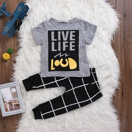 "Wholesale Life Baby Infant - INS Unisex ""Live Life"" Newborn Infant Baby Boys Girls Clothes Letter Printed T-shirt Tops + Geometric Pattern Harem Pants Outfits Sets"