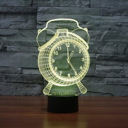 Wholesale Table Clocks For Kids - Wholesale- Desk Clock 3D Illusion LED Night Lights Colorful Acrylic Table Lamp For Party Christmas Gift Kids Toys Home Decor Bar Lamp