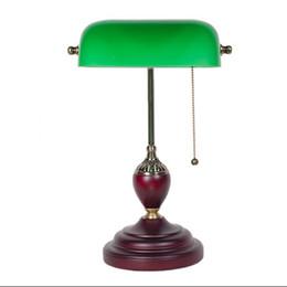 Зеленый офис онлайн-LED e27 американский старинные зеленые стеклянные деревянные светодиодные лампы светодиодные .настольная лампа.настольная лампа.Светильник стола Сид для изучения спальни офиса