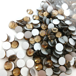 Wholesale Metal Rhinestones Loose - SS3-SS30 Smoked Topaz Color silver foiling back nail arts small flat back beads Non Hotfix Rhinestone loose shiny stone