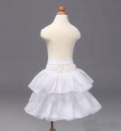Wholesale Flower Print Bridesmaid Dresses - Girls' Petticoa Children Petticoats Wedding Bride Bridesmaid Accessories Crinoline White 1-Hoop 2-Layer Flower Girl Dress Kid Underskirt